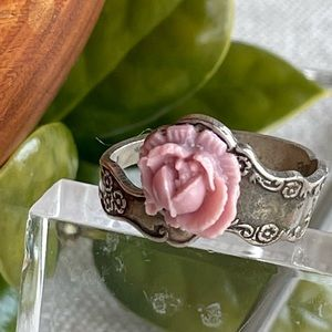 Vintage Spoon Ring with Lucite Rose Adjustable